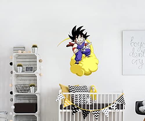 Autocollant Mural Dragon Ball Goku et le Nuage Volant   Kid Goku Art de Goku Art de Boule de Dragon Décoration de Chambre D'enfants Exquise