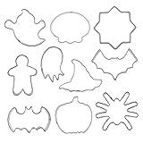 Molde de Galletas de Halloween Acero Inoxidable DIY Craft Fondant Bizcocho Kit de Molde 10 unids, Pastel de Acero Inoxidable Molde