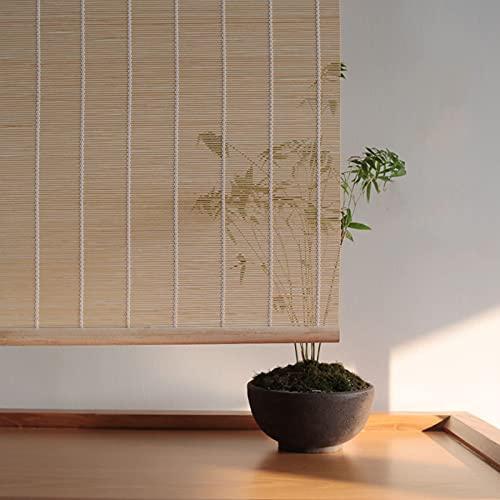 Estor Enrollable de bambú Natural,Persiana de Bambú para Interior,Persiana Toldo Vertical,Cortinas Opacas,Filtración de luz Natural al 45%,para la Decoración de Particiones (70x183cm/28x72in)