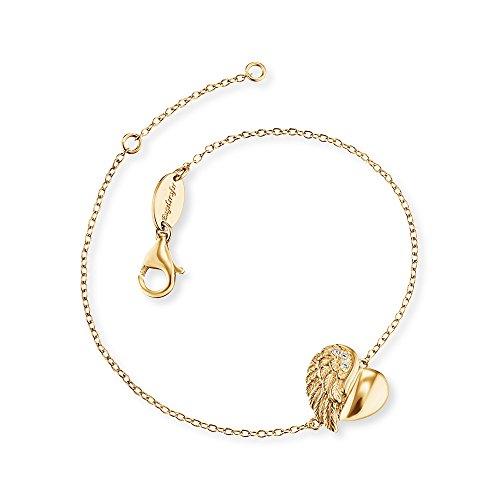 Engelsrufer Herzflügel Armband für Damen Gelbvergoldet 925er-Sterlingsilber Weiße Zirkonia Länge 16 cm + 2 cm
