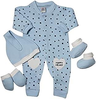 papillon Bodysuit printed xo with hat&socks&gloves for boys newborn-baby blue