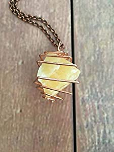 Crystal Necklace Orange Calcite Copper Treasure Spiral
