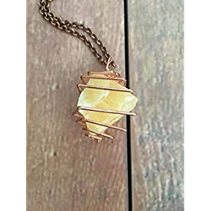 Raw Orange Calcite Crystal Copper Wrapped Necklace