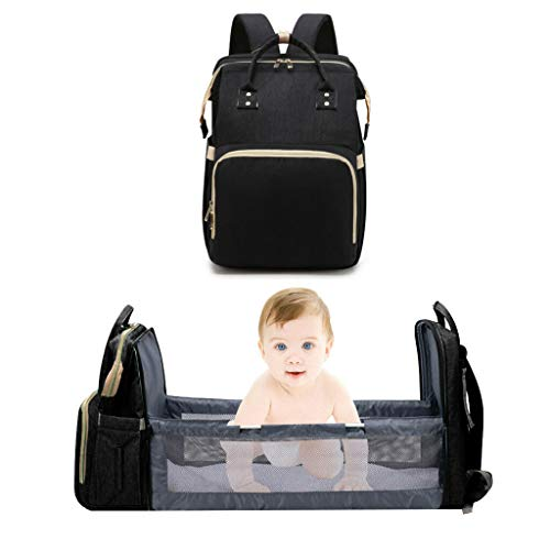 ZOUNICH Diaper Bag Backpack Changing Station for Men Women,Portable Bassinets for Baby Girls Boys Travel Crib Infant Sleeper,Baby Nest with Mattress Included 5-in-1 Travel Bassinet Foldable Baby Bed
