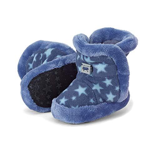 Sterntaler - Baby Schuhe Jungen gefüttert mit Stoppern und Gummizug, Plüsch Sternemuster, Tintenblau - 5101825, Größe 16