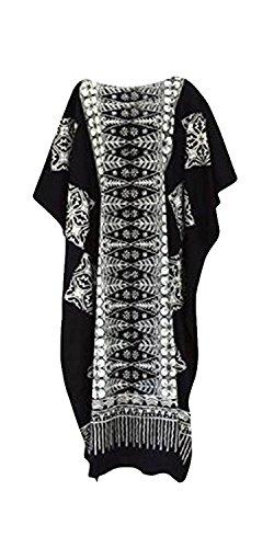 Cool Kaftans Damen Bluse Malaya Schwarz Violett Rot Feiner Batikdruck Baumwolle Strandkleid Übergröße Neu - Übergröße, Schwarz