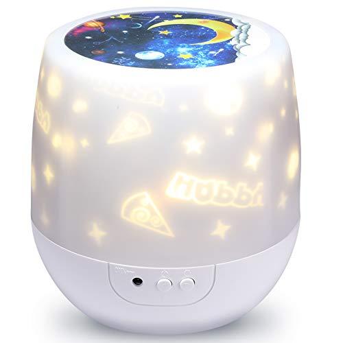 Proyector Estrellas, Lampara Niños Dormir Giratoria Regulable 360 Lámpara Lampara bebe Para BeBés Niños y Adultos 6 Color Regulable Combinaciones