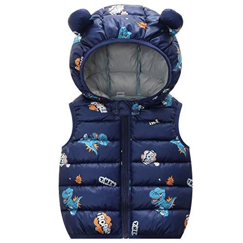 Bebé Chaleco de Abajo Infantil Chaleco de Plumas Invierno Encapuchado Chaquetas Acolchado Ligero sin Mangas Abrigo, 2-3 Años, 100CM