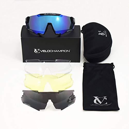 VeloChampion officiële Cyclone-zonnebril met 4 lenzen, blauwe spiegel, schaduw zwart, gele nachtzichtapparaat, Clear Tactical, Sports
