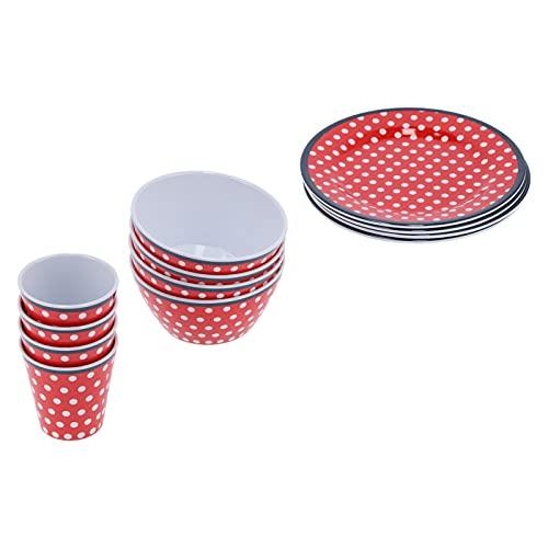 Alvinlite Juego de vajilla Multiusos para el hogar - Plato de Taza de melamina de Punto Rojo - 12 Piezas/Juego de vajilla para Restaurante en casa