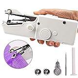 Berrywho 1 Set Mini Máquina de coser Handheld portable de la máquina de coser Mini máquina de coser de puntada personal herramienta eléctrica para la tela Crafts recorrido del hogar blanco de los EEUU