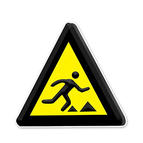 SUIFENG Selbstklebend Aufkleb 12.4 X 13.1 cm Warnschild Vorsicht Vor Stolpern Autoaufkleber Stoßstangenzubehör