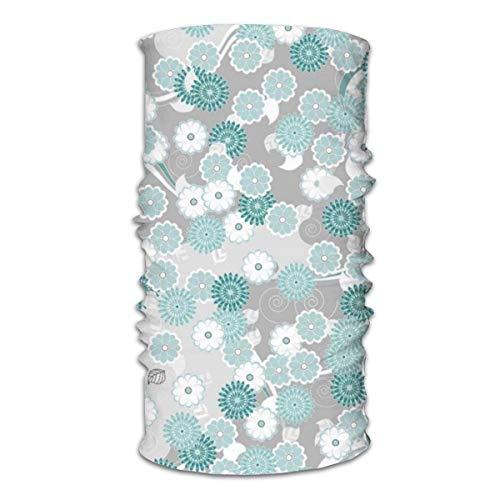 Unisex multifunctionele gezichtssjaal Vrij abstract bloemmotief in groenblauw en grijze bandana's, sport- en casual hoofddeksels Neck Gaiter Headwrap bivakmuts hoofddoek