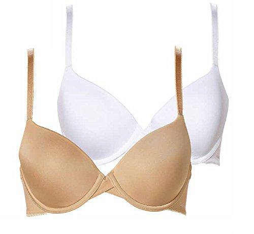 Calvin Klein Underwear Women's 2 Pack Essence T-Shirt Bras (36B, White - Bare)