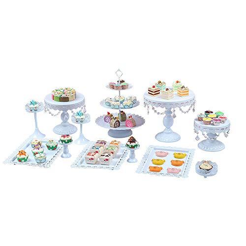 12 Stück Tortenständer Cupcake Ständer Etagere Torte Vintage Set mit Kristall Anhänger und Perlen