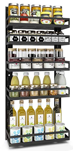 Spice Rack Wall Mount Adbiu Kitchen Hanging Organizer For Countertop 5 Tier HeightAdjustable Hanging Spice Shelf Storage for Pantry Cabinet Door with 5 Hooks