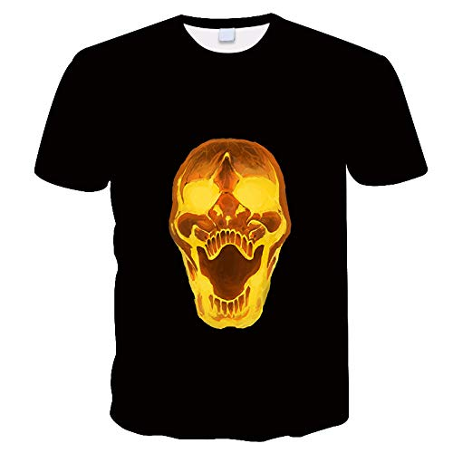 WAPDRY Black Summer Daily Casual T-Shirts,3D Abstract Art Golden Skull Print Short-Sleeved Shirts,Round Neck Tops For Men and Women,Beach Sportswear-4Xl