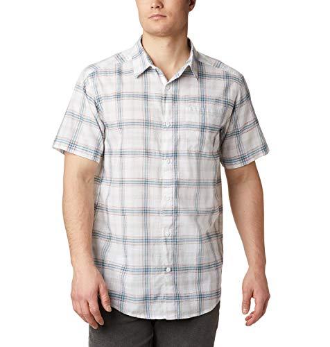 Columbia Under Exposure Camisa De Manga Corta, Hombre, White Tartan Plaid, XL