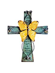 "Beautiful handcrafted Christian cross made of painted wood with antiqued metal decorations. Includes inspirational prayer: ""Every Good And Perfect Gift Is From Above"" James 1:17 Size: 9 inches tall by 7 inches wide. Metal hanger attached on reverse s..."