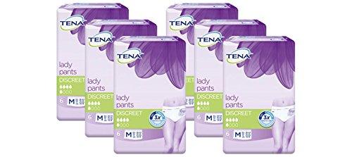 Tena Lady Pants Discreet mittelgroß (M) für mittlere Blasenschwäche / Inkontinenz 6er Pack (6 x 6 Stück)