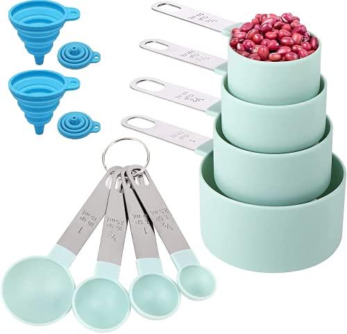 Befol Cucharas Medidoras, Medidores Cocina Silicona, Jeugo de 8 Tazas y Cucharas de Medición con Mango de Acero Inoxidable para Medir Líquidos y Los Ingredientes de Cocina y Hogar y dos Embudos
