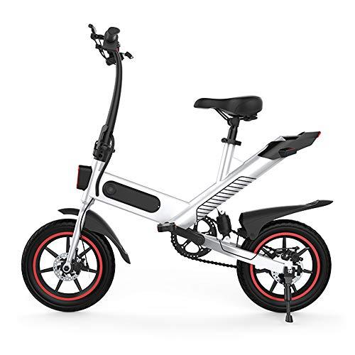 Roeam Bicicleta Eléctrica Adultos, Plegable E-Bike con Motor de 350w y Neumáticos de 14 Pulgadas,Campo de prácticas de 35-40 km,Negro/Blanco