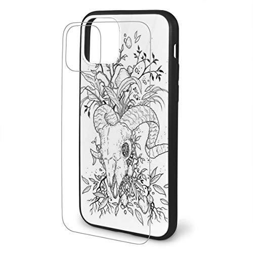 Genertic Ram Schedel Geschikt voor Iphone TPU Glas Telefoonhoesje Matte Back Cover, Met Zachte TPU Schokabsorberend Frame, Anti-slip, Anti-vingerafdruk, Anti-val, Zwart, Iphone 11 Pro, Zwart
