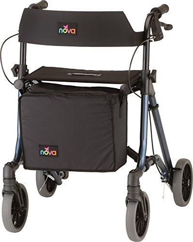 NOVA Forte Rollator Walker, 23' Seat Height, Easy to Fold and Carry Rolling Walker, Blue
