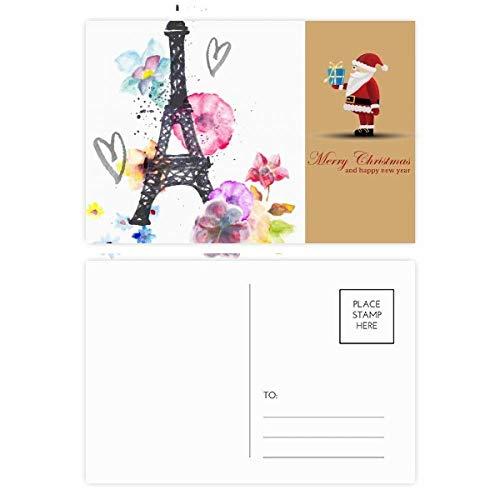 Eiffeltoren Hartvormige Frankrijk Kerstman ansichtkaart Set Thanks Card Mailing 20 stks