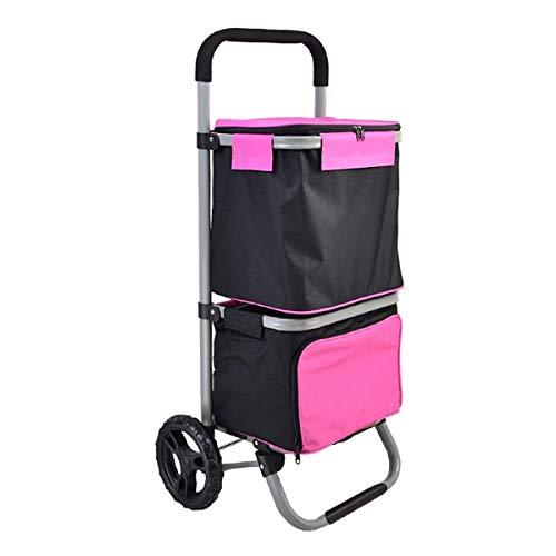 Zjnhl JIAN Trolley Leggero Pieghevole Carrello, Impermeabile Carrello con Ruote girevoli E Sacchetto Rimovibile Grocery Utility Carretto a Mano Facile Bagagli (Colore: Blu) (Color : Pink)