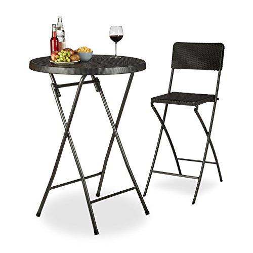 Relaxdays Table haute ronde pliante de jardin BASTIAN optique rotin HxD: 110 x 80 cm résistant bar extérieur, noir
