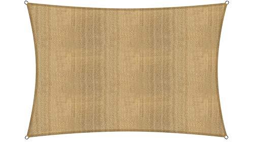 Lumaland Sonnensegel inkl. Befestigungsseile, 100% HDPE mit Stabilisator für UV Schutz, Rechteck 2 x 3 Meter Sand