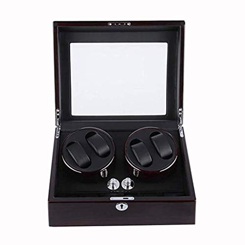 ZhenHe A prueba de polvo giratorio automático para reloj (carcasa de madera+almohada de cuero+pintura de piano) silenciador automático para 4 relojes con almacenamiento de cuero regalos para hombres
