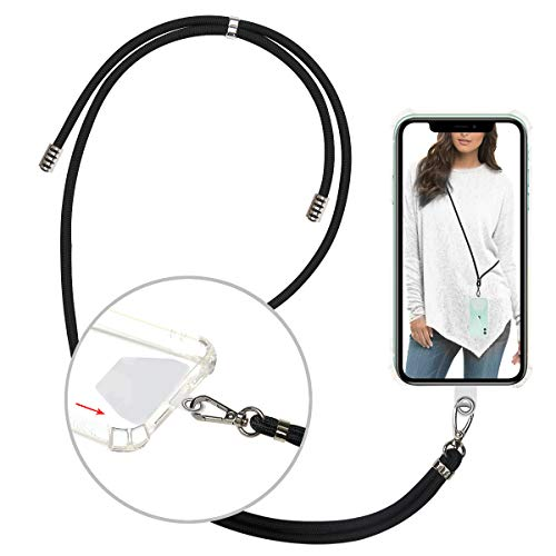 takyu Phone Lanyard, Universal Cell Phone Lanyard with Adjustable Nylon Neck Strap, Phone Tether Safety Strap Compatible with Most Smartphones with Full Coverage Case (Black)