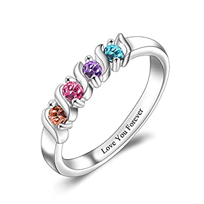 LIANZHEN Personalized S925 Mother Ring with 4 Simulated Birthstones Engraved Any Name for Mother's Day Birthday Anniversary (Silver)