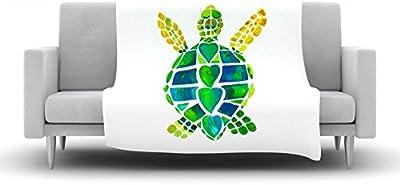 Kess InHouse Catherine Holcombe Turtle Love Green Teal Fleece Throw Blanket 60 by 50