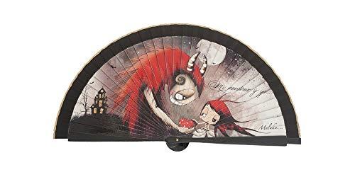 Abanico Original Malaka de Madera diseño Bella y Bestia, complemento de Calidad y Divertido con Caja de cartón Individual a Juego (23 cm)