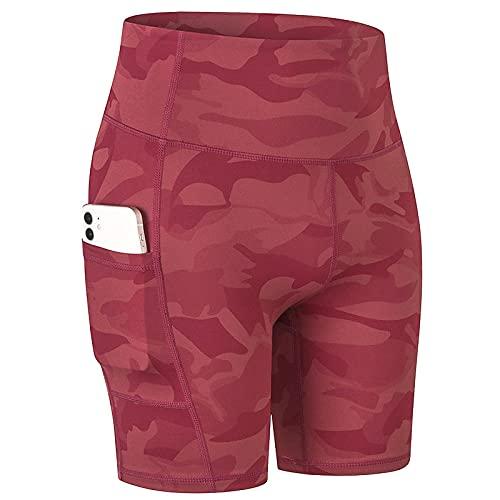 Leggings Push Up Mujer Deporte,Pantalones cortos de yoga desnuda de impresión de mujeres con bolsillos, piel, tacto, transpirable, transpirable, deportes, pantalones cortos de fitness-Camuflaje rojo_