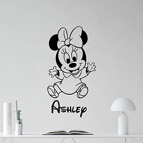 XKIOA Wall Sticker Minnie Mouse Wall Decal Personalized Custom Name Nursery Vinyl Wall Sticker Kid Girl Bedroom Home Decor Children Gift Mural 57x30cm