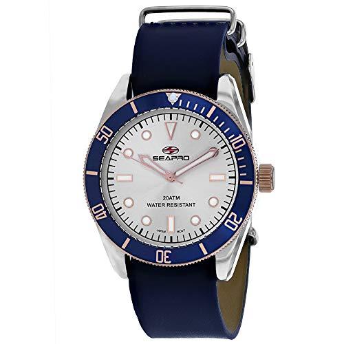 Seapro Reloj de pulsera para hombre, de acero inoxidable, cuarzo, correa de piel, color azul, 22 años (modelo: SP0300)