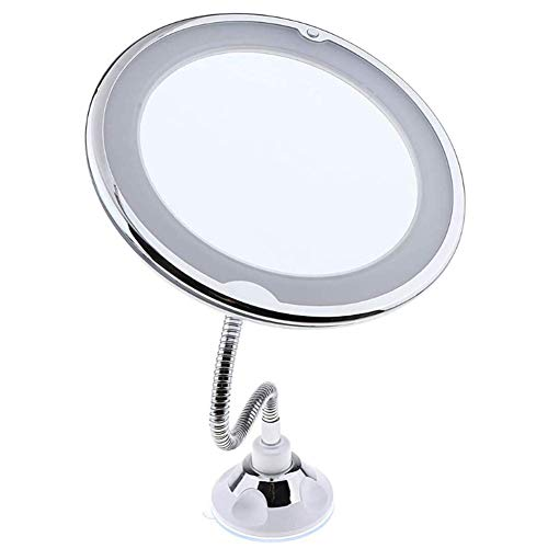 QTMHT Make-up Spiegel Dubbelzijdige LED Flexibele Zwanenhals 10 X Vergrootende Badkamer Vanity Spiegel met Sterke Zuignap 360 graden Draaibaar