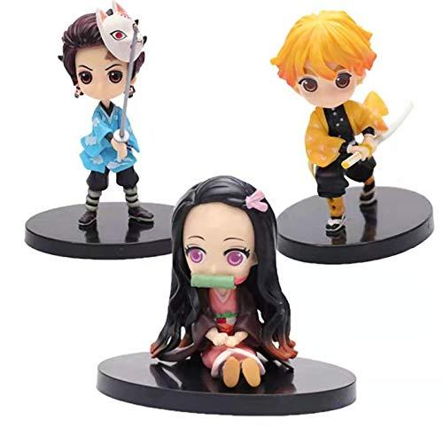 Qwead 3Pcs Anime Demon Slayer Corps Tanjirou Nezuko Zenitsu Figure Toy Pvc Action Figures Kimetsu Yaiba Collectible Model Toy Dolls Gift