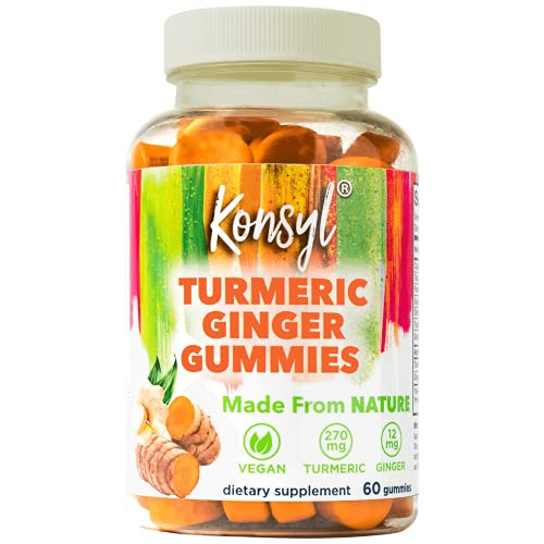 Konsyl Turmeric Ginger Gummies - Helps Support Healthy Joints, Inflammation, and Digestive Health & Immunity + - Vegan, Chewable, Natural Dietary Supplement for Men & Women (60 Count)