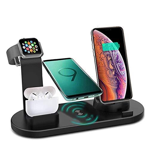4 en 1 estación de carga inalámbrica, 360 ¡ã Base de carga giratoria para teléfonos Apple/Micro/Type C, Qi Fast Wireless Base de carga para iWatch Series, Airpods, iPhone, Samsung Galaxy