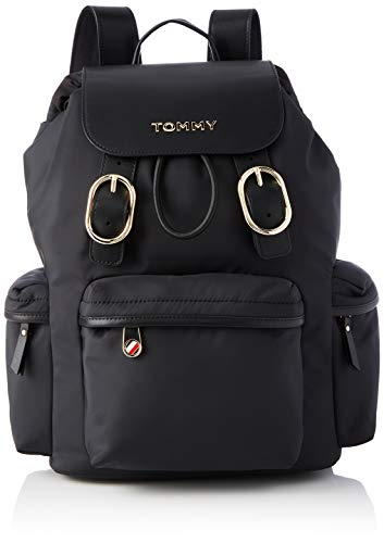 Tommy Hilfiger Recycled Nylon Backpack, Bolsas. para Mujer, Black, One Size