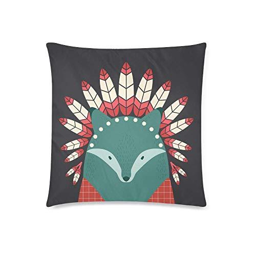 Funda de cojín con diseño de lobo indio con plumas, 45,7 x 45,7 cm, cuadrado con cremallera, protector de almohada