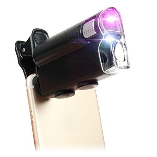 GENFALIN Tire del Espejo portátil de Cristal de 2,5 Veces / 45 Los Tiempos de Cristal portátil de Lectura de Alta Potencia con Luces LED