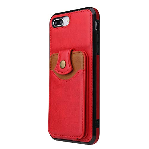 yiyiter Wallet telefoonhoes compatibel met iPhone 8 Plus telefoonhoes ultradun portefeuille lederen case kaartenvak credit kaarten geld clip cover kunst in iPhone 8 Plus beschermhoes, iPhone 8 Plus, rood