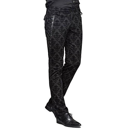 Devil Fashion Punk Men Cotton Dress Pants Victorian Printed Bandage Bridal Pants, 2XL Black