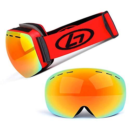 HOUJIA Ski Goggles,Ajustable Gafas Protectoras de esquí Gafas de Esquí Esféricas Grandes Sin Marco,para Adultos Hombres y Mujeres,Protección UV400 y Antiniebla,Máscara de Snowboard